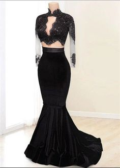 Black+Velvet+Two+Pieces+Prom+Dresses Made+to+order,+can+be+made+with+any+change. Fabric:+Velvet Shown+Color:+Black Available+Color:+As+Picture+or+Custom+Color(pls+leave+the+color+or+color+code+in+the+order+note+section+since+colo. Prom Dresses Two Piece, Elegant Prom Dresses, Gala Dresses, Beautiful Dresses, Party Dresses, Long Sleeve Evening Dresses, Prom Dresses Long With Sleeves, Formal Evening Dresses, Prom Outfits