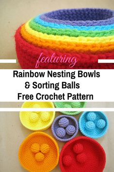 Crochet Rainbow Nesting Baskets Are Lovely And Fun [Free Patterns] - Knit And Crochet Daily Rainbow Nesting Bowls & Sorting Balls Free Crochet Patterns Crochet Bowl, Quick Crochet, Crochet For Kids, Crochet Yarn, Free Crochet, Crochet Ideas, Beginner Crochet, Crochet Baby Toys, Crochet Toys Patterns