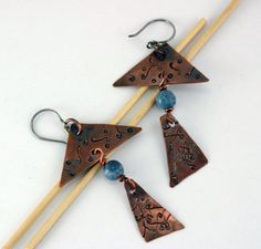 Primitive Geometric Earring  Blue Coral Earring  by CopperGuppy