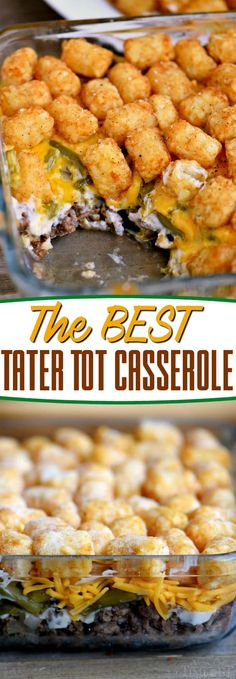 Truly the BEST Tater Tot Casserole recipe around! Layers of amazing flavor combine for an easy and delicious dinner any night of the week! This fantastic casserole recipe will quickly become a family favorite! // Mom On Timeout #dinner #recipe #casserole #beef #greenbeans #tatertots #easy #groundbeef #potatoes #cheese