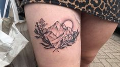 Feminine tattoo mountain tattoo thigh tattoo mountain and lavender tattoo mountain thigh tattoo pretty tat pretty tattoo nature tattoo Rebellen Tattoo, Berg Tattoo, Dad Tattoos, Body Art Tattoos, Tattoo Thigh, Tatoos, Pretty Tattoos, Cute Tattoos, Awesome Tattoos