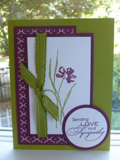 A Stampin' Up! Homemade Greeting Cards, Homemade Cards, Purple Cards, Scrapbook Cards, Scrapbooking, Get Well Cards, Card Patterns, Sympathy Cards, Paper Cards