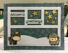 Card christmas critters horse sheep Mama Elephant Lunar Animals stamp MFT Blueprints 27 Die-namics - Sentiment from Lawn Fawn Home for the holidays - StjerneSus Design
