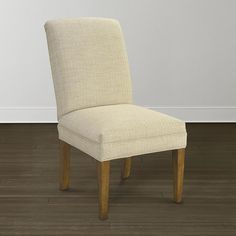 Parsons Chair With Fabric Seats And Wood Legs