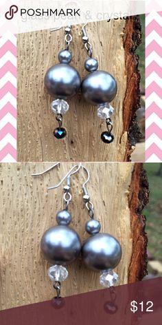 Handmade glass pearl & crystal earrings Handmade hypoallergenic glass pearl and crystal earrings Jewelry Earrings