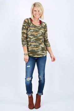 Camo Drape Back Pullover by CHASER - EVEREVE