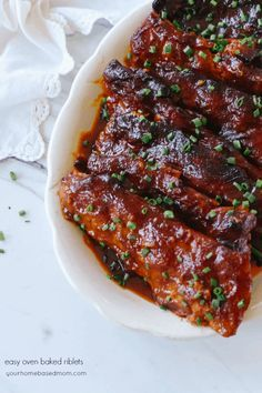 easy riblets are baked right in your oven. They are so delicious, the meat just falls right off the bone!These easy riblets are baked right in your oven. They are so delicious, the meat just falls right off the bone! Healthy Recipes, Pork Recipes, Cooking Recipes, Goulash Recipes, Flour Recipes, Grilling Recipes, Crockpot Recipes, Baked Pork, Diners