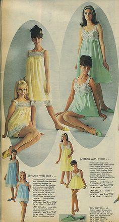 1966 Spiegel catalog nighties, via Flickr. CUTEST SHEER NYLON NIGHTIES AND MATCHING PANTIES