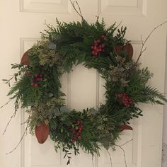 """Front Door Wreath, fresh hand tied mixed greenery. Designed by Sharlene Nielsen of Front Door Stories. (24"""" @ $65, 12"""" @ $45) Wreaths For Front Door, Door Wreaths, Holidays And Events, Greenery, Christmas Wreaths, Doors, Fresh, Holiday Decor, Design"""