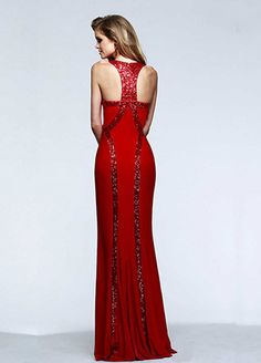 Chic Stretch Satin & Sequin Lace Jewel Neckline Floor-length Sheath Prom Dress  #selectprom