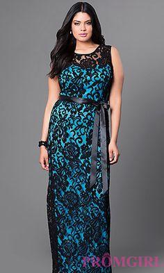 Long Lace Sleeveless Plus Dress at PromGirl.com