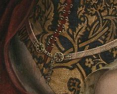 Moreel Triptych, Hans Memling, 1484, right panel, St. Barbara, detail of demicient belt
