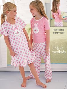 Your little slumber-party animal will love our girls pajamas in print and styles that are uniquely her! Shop nightgowns, footed jammies, and printed pajamas. Frocks For Girls, Girls Pajamas, Cute Girl Outfits, Kids Outfits, Easter Pajamas, Pijamas Women, Bunny Outfit, Crochet Toddler, Pajama Outfits