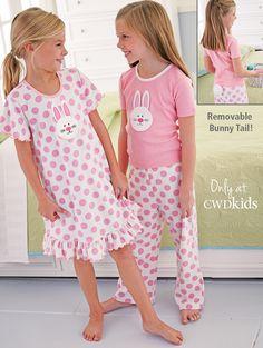 From CWDkids: Bunny Dot Gown & Bunny Tail Pajamas