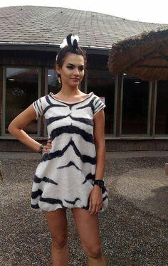 #SummerDress #Zebra #FeltedTunic #Animaldress #Black andWhite #melmetextil #etsyshop