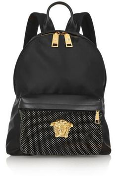 f7a49c472518a Studded leather-trimmed satin-shell backpack #accessories #covetme #versace  Versace Bag