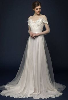 LUMIKA / Hand embroidered wedding dress Embroidered wedding gown Etherial wedding dress flower wedding dress with illusion sleeves