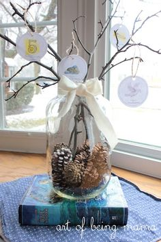 Pine cones and twigs  [Jesus Tree - 40 Days with Jesus It is an Easter devotion {40 Days with Jesus} Jesus Tree continuing the story of the Jesse Tree from Christmas.]