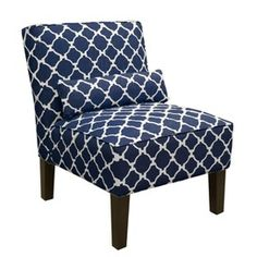 Navy chair- I think I might recover my green polka dot chair with a navy/white fabric like this one