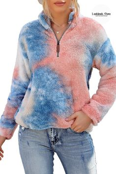 Winter Style // Women oversized cozy fleece cardigan features hooded at back and draped open front design, long sleeves with ribbed finishes. Tie Dye Coats, Fleece Cardigan, Casual Tie, Blue Tie Dye, Winter Fashion, Front Design, Chilly Weather, Sweaters, Winter Style