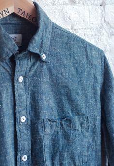 Classic Blue Chambray Shirt (Slub Cotton & Linen), Men's Spring Summer Fashion.