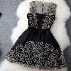 Vintage Embroidery See Through Bustier Tank Skater Dress