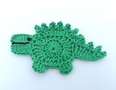 1 Crochet applique green Stegosaurus  by MyfanwysAppliques on Etsy