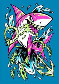 SHARK SPLASH now available as shirts, tanks, hoodies and more in my Design By Humans shop! Graffiti Art, Graffiti Doodles, Graffiti Drawing, Cartoon Kunst, Cartoon Art, Dope Kunst, Animal Drawings, Art Drawings, Shark Art