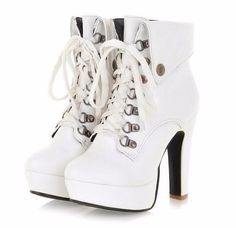 Get elevated with this stylish, elegant ankle boots. Features round toe, high platform, square high heel, lace up with metal eyelit, convertible ankle design. Crafted from soft leather, rubber, PU and