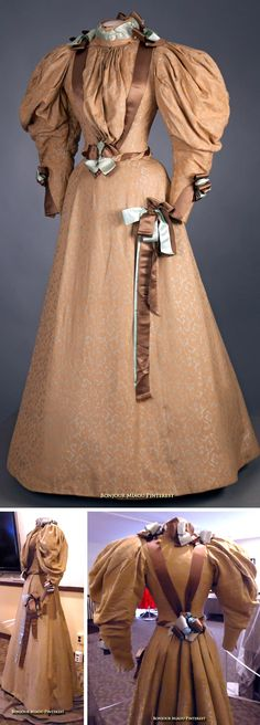 Wedding dress, Mme. E. Saunders, Louisville, KY, 1895. Two-piece dress of tan brocade with light blue accents and satin ribbon of light blue and brown; hourglass silhouette. Photo: Michael Nelson. Vassar College