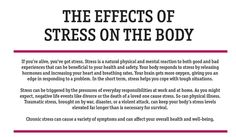 Stress can be triggered by the pressures of everyday responsibilities at work and at home. As you might expect, negative life events like divorce or the death of a loved one cause stress. So can...