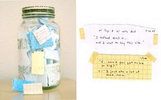 Messages in a bottle - a bottleful of children's quotes.  What a great idea to save some of the funny quotes your kids say.