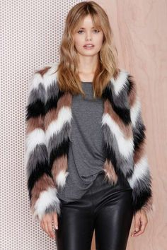 Color Coating Faux Fur Jacket - Jackets + Coats