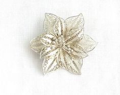 Vintage silver filigree flower brooch by Hermann Siersbol, made in Denmark, 800 silver purity, C-clasp, circa 1940s by CardCurios on Etsy