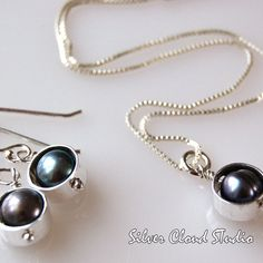 Black Pearls and Shiny Silver. - Maggie Connolly - M.J. Connolly Designs
