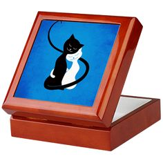 Blue Hugging Love Cats Keepsake Box