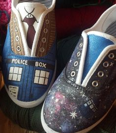 Doctor Who Custom Shoes by WordsToSewBy on Etsy, $110.00, pinning them just so I can look back to make them myself... XD