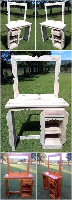 Here you can see a rustic reclaimed wood pallet vanity idea, which is easy to copy and it will surely make the room look amazing by not giving the look of it created at home. Pallet Crafts, Diy Pallet Projects, Wood Projects, Rustic Vanity, Wood Vanity, Wood Pallet Furniture, Rustic Furniture, Furniture Storage, Furniture Outlet