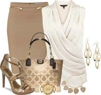 Work Outfit with Coach Bag, Heels, Watch, Earrings, Bracelet and Skirt