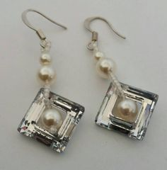 Swarovski Cosmic Squares and Pearl earrings available in my etsy shop  https://www.etsy.com/listing/231314343/swarovski-and-pearl-earrings-bridal
