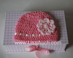 Free EASY Crochet Baby Hat Pattern with Crochet Flower (How TO Crochet a Hat)