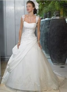Organza And Satin Sweetheart With Wide Shoulder Straps A Line Pick Up Slant Design Lace Up Wedding Dresses WM 0131 $137