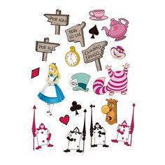 Enfeites Cartonados Alice no País das Maravilhas - Decore as paredes e as mesas dos convidados.