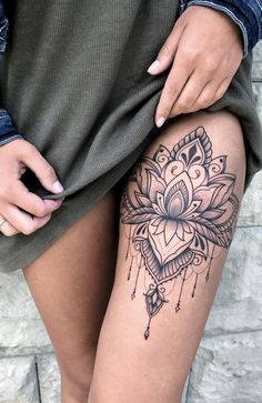 Beautiful looking and with a rich symbolism behind lotus tattoos are absolutely gorgeous Here you ll find everything you need to know about a lotus tattoo and some awesome imagery for inspiration Hip Thigh Tattoos, Dope Tattoos, Sleeve Tattoos For Women, Unique Tattoos, Body Art Tattoos, Small Tattoos, Tattoos For Guys, Gorgeous Tattoos, Rib Tattoos