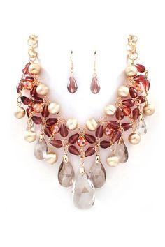 Crystal Dakota Necklace in Vintage Rose on Emma Stine Limited