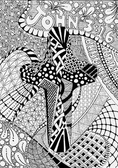 For God so loved the WORLD..... Adult Coloring Pages, Coloring Books, Henna Doodle, Tangle Art, Easter Projects, Doodles Zentangles, Catholic Art, Sacred Art, Ministry