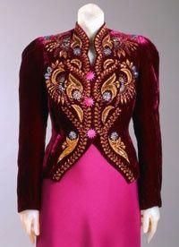 Elsa Schiaparelli evening jacket, Winter 1937-38. Silk velvet and metallic thread embroidery, sequins, rhinestones embroidery by Lesage, Philadelphia Museum of Art.