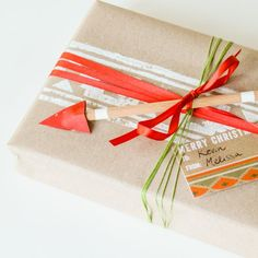 Sharing another fun wrapping DIY, this time using a hand made stamp. A great way to customize, even match your gift wrap to holiday cards.