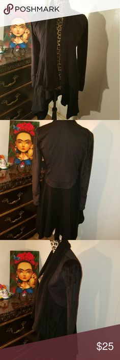 Venus Drape Sweater NWOT Black Drape front, chenille type fabric Sweaters