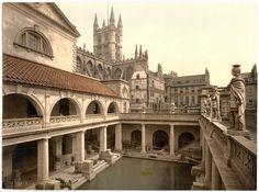 Photochrom of the Roman Baths in Bath  Roman_Baths_c1900_2.jpg (3585×2663)